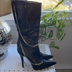 Casadei black boots with silver chain